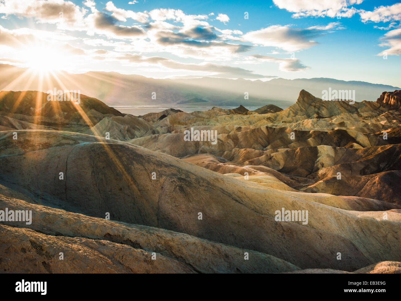 USA, California, Inyo County, Death Valley National Park, Zabriskie Point trail at sunset - Stock Image