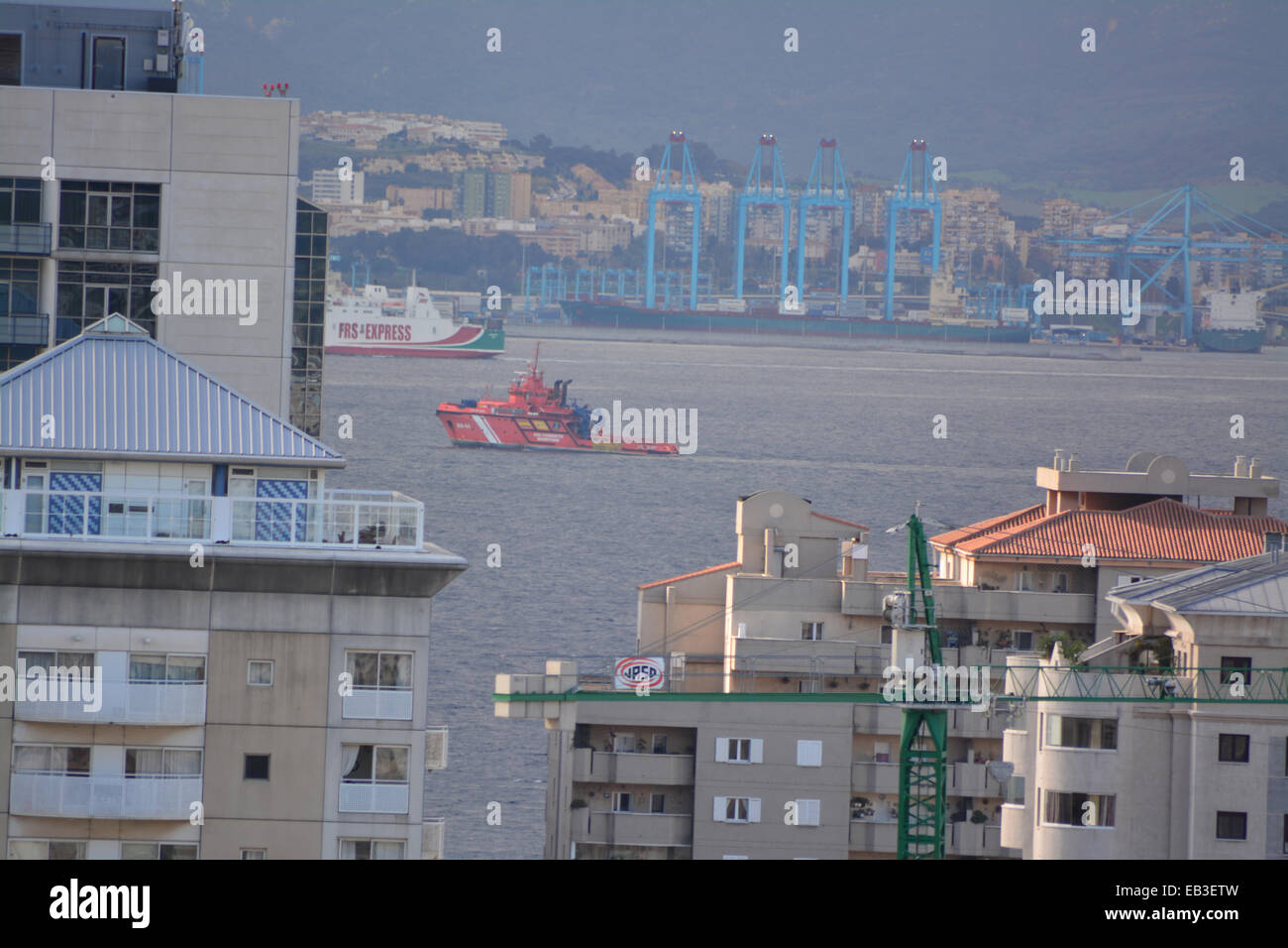 Gibraltar. 25th November, 2014. Spanish state Search and Rescue pollution control vessel Luz del Mar was observed Stock Photo