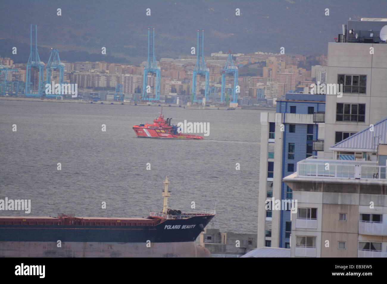 Gibraltar. 25th November, 2014. Spanish state Search and Rescue pollution control vessel Luz del Mar was observed - Stock Image