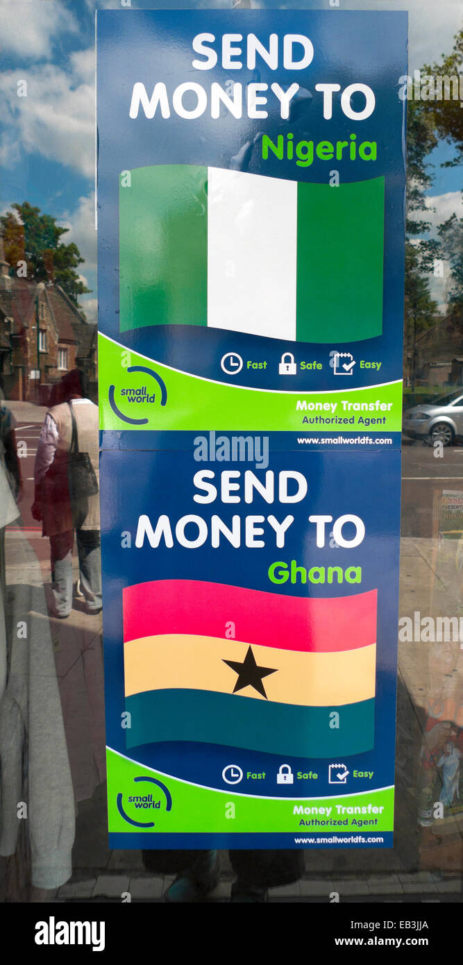 Send Money to Nigeria Ghana Transfer sign on shop window in Tottenham London  N15  England Britain UK     KATHY - Stock Image