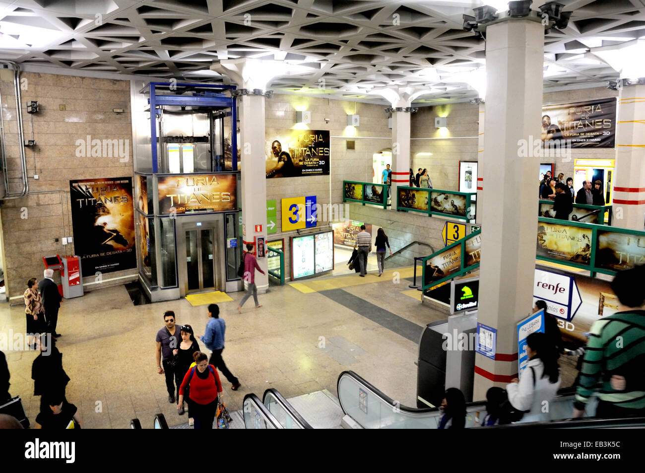 Madrid, Spain. Sol Metro station interior - Stock Image