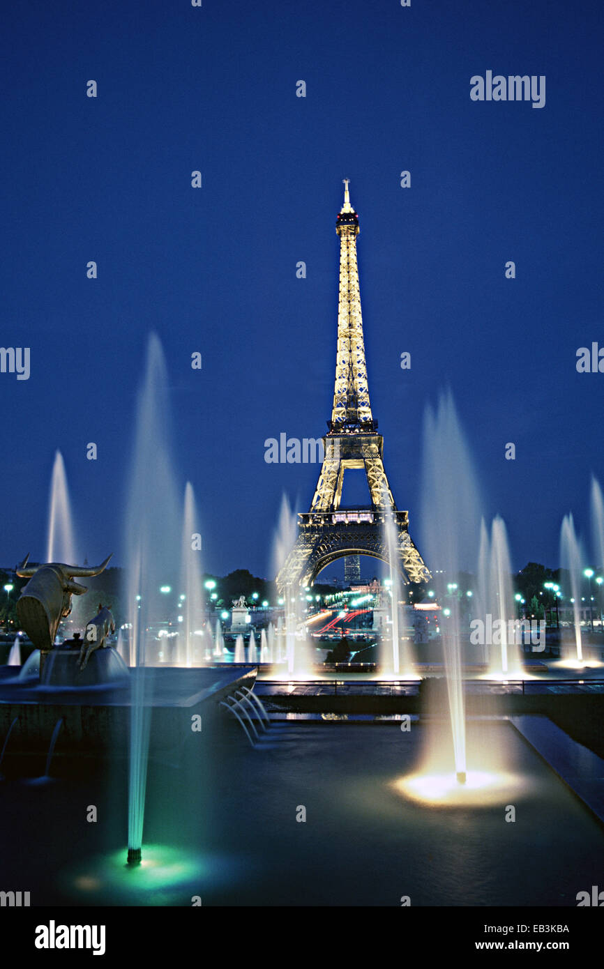 Eiffel Tower at Dusk, View from Palais Chaillot, Paris, France Stock Photo