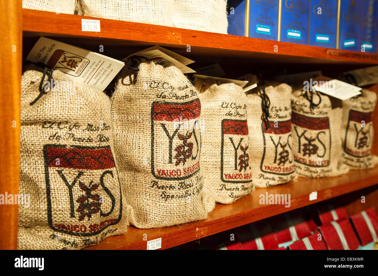Puerto Rican coffee packages, Old San Juan, Puerto Rico - Stock Image