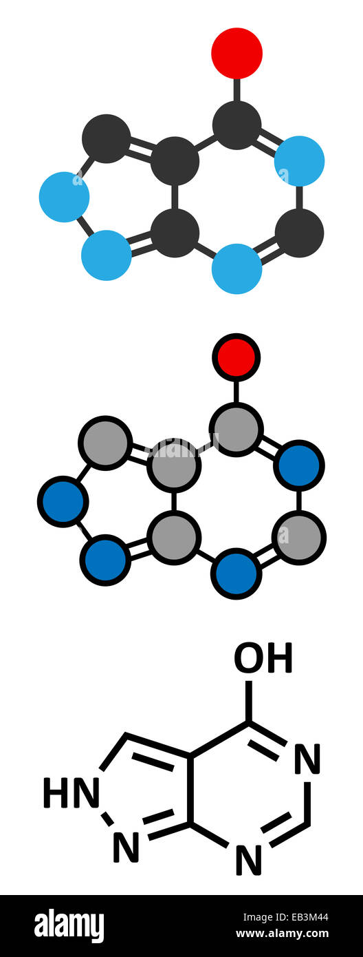 Allopurinol gout drug molecule. Conventional skeletal formula and stylized representations. - Stock Image