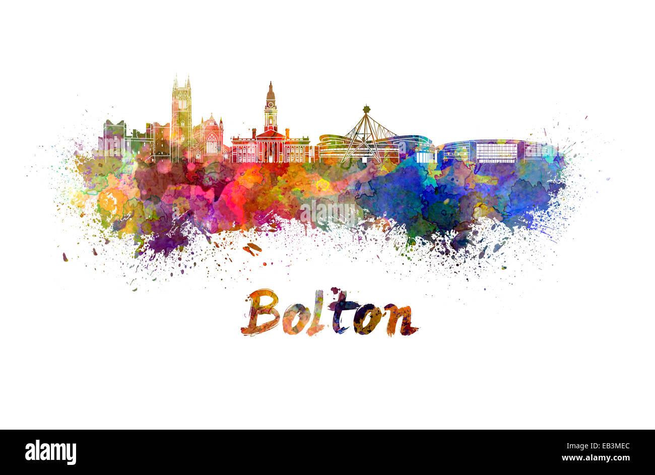 Bolton skyline in watercolor splatters - Stock Image