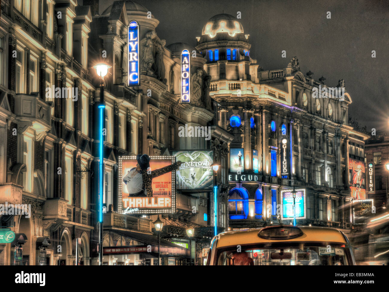 West End Theatres London at night - Stock Image