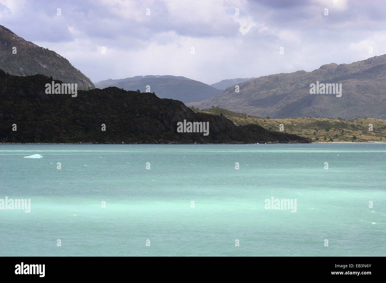 Landscape surrounding the Bernardo O'Higgins National Park on the edge of the Sarmiento Channel, Patagonia, - Stock Image