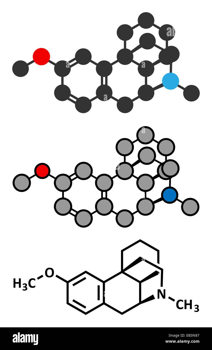 Dextromethorphan cough suppressant drug (antitussive) molecule. Conventional skeletal formula and stylized representations. - Stock Image