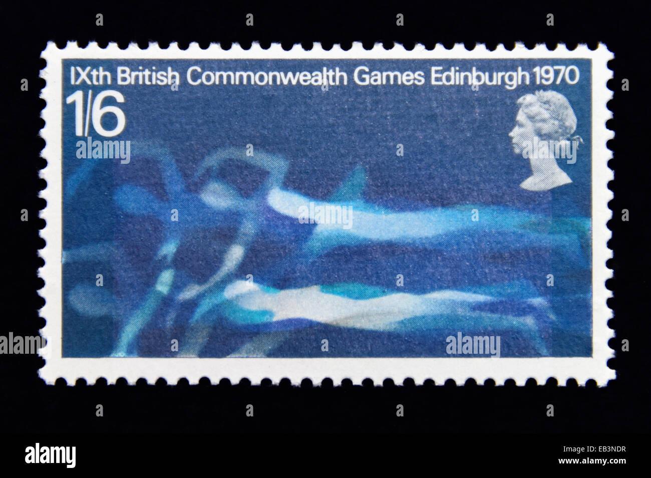 Postage stamp. Great Britain. Queen Elizabeth II. XI British Commonwealth Games, Edinburgh, 1970. Swimmers. 1/6. - Stock Image