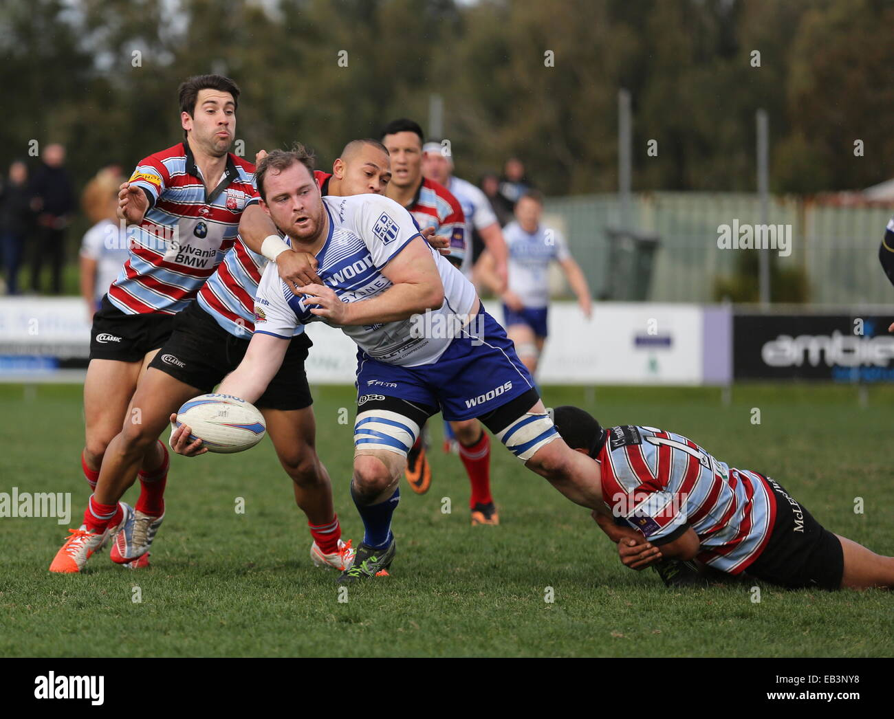 Eastwood forward Jared Barry looks to offload - Stock Image
