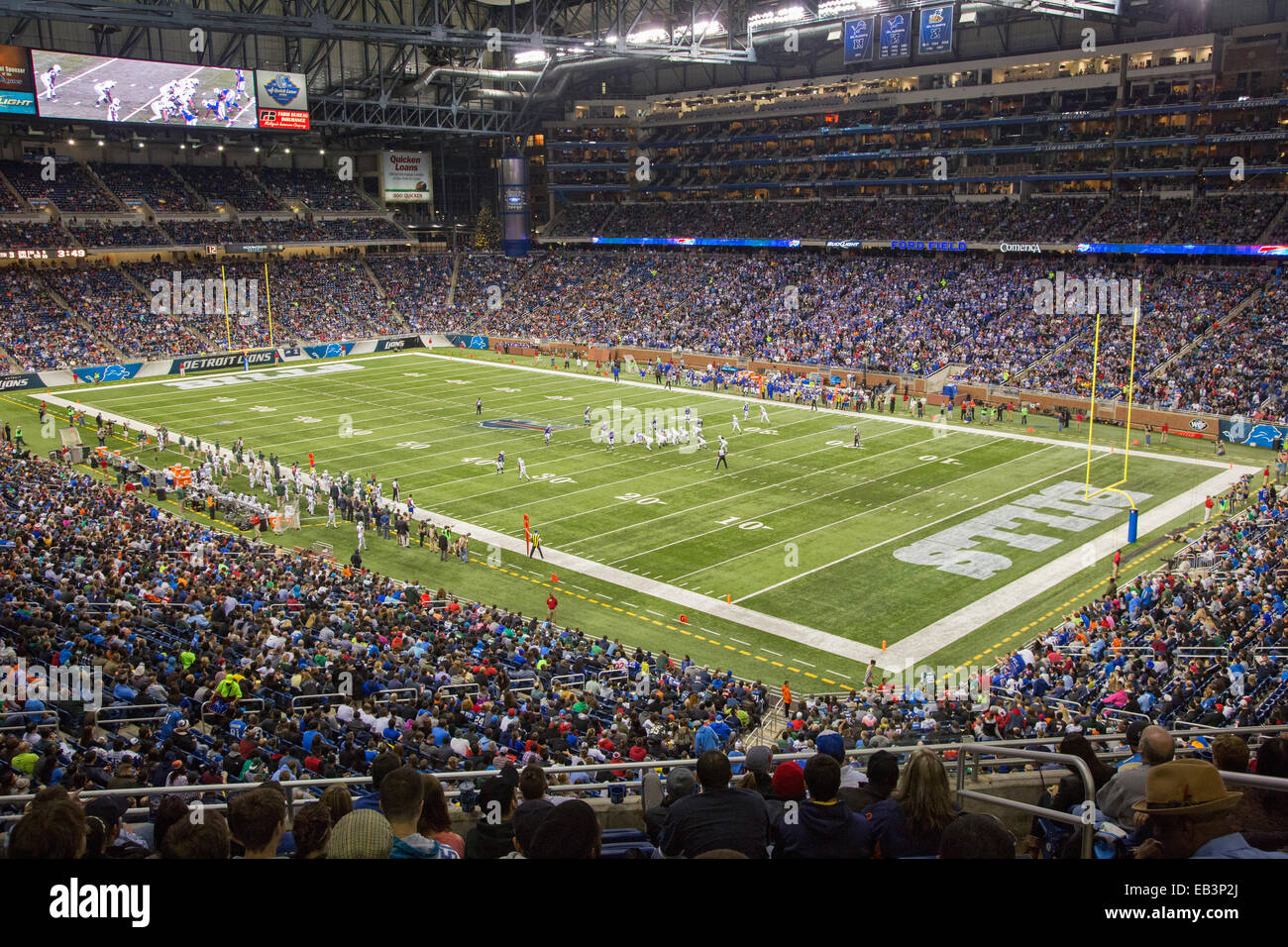 Detroit, Michigan - The Buffalo Bills play the New York Jets in a National Football League game at Ford Field. - Stock Image