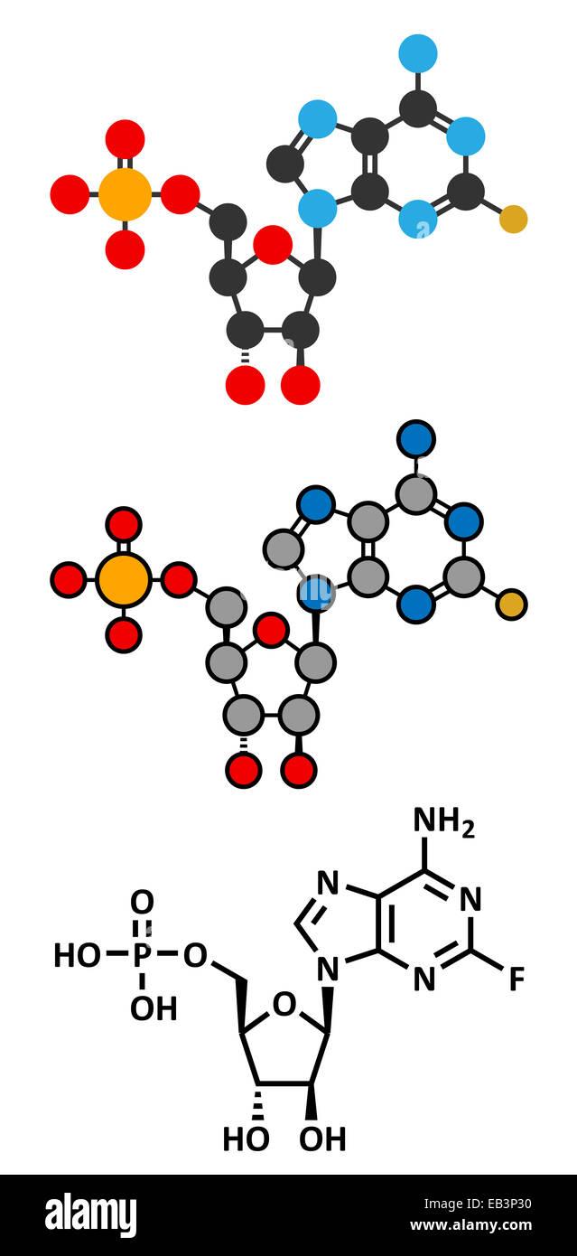 Fludarabine blood cancer drug molecule. Conventional skeletal formula and stylized representations. - Stock Image