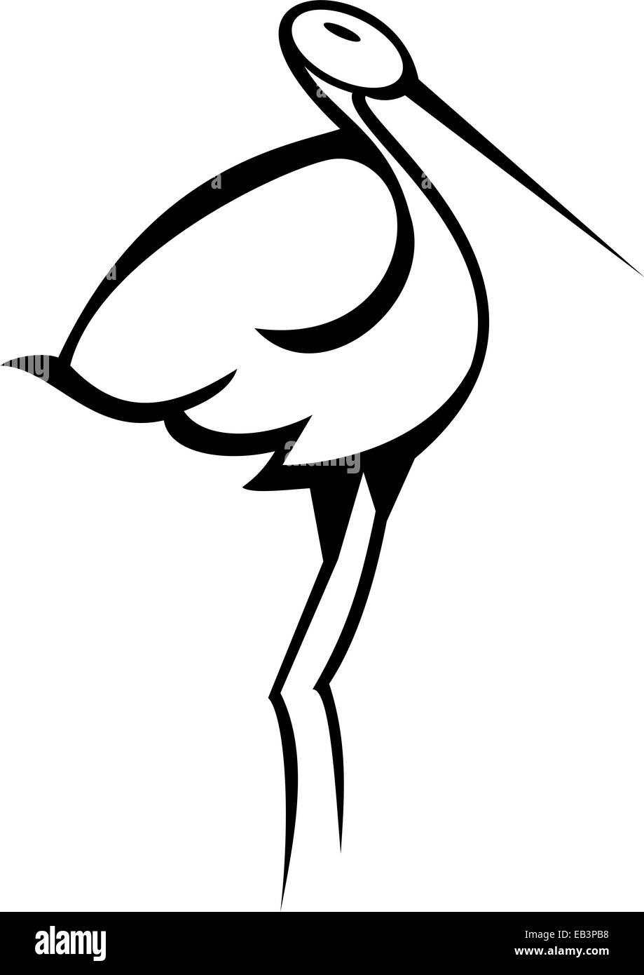 Stylised Stork - Stock Image