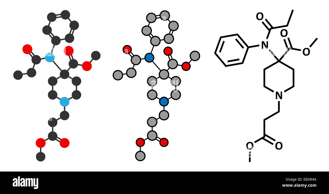 Remifentanil anaesthetic and analgesic drug molecule. Conventional skeletal formula and stylized representations. - Stock Image