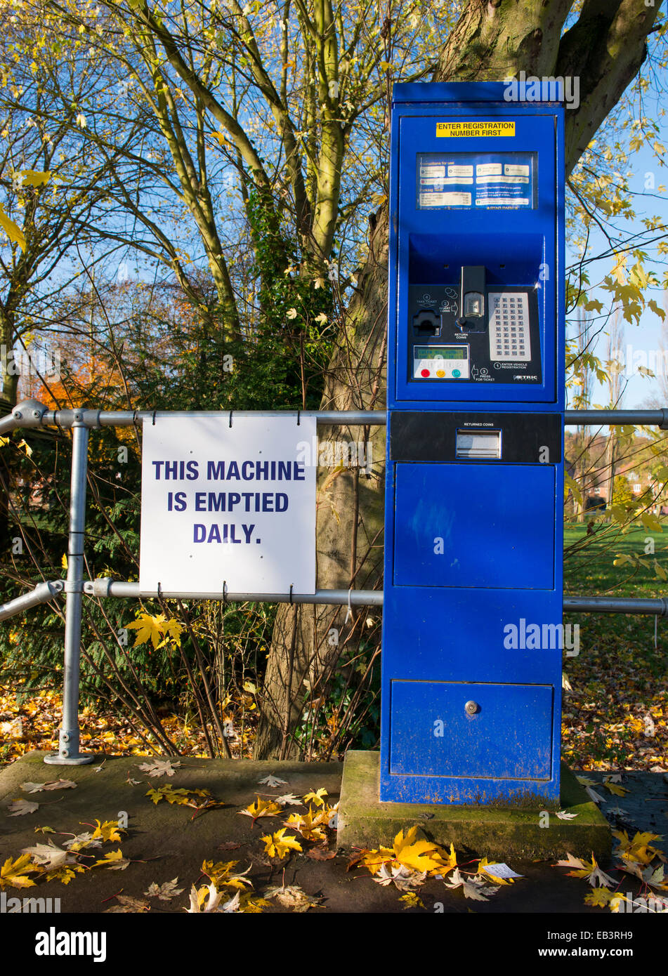 Pay and display machine in a car park at Bridgnorth, Shropshire, England. - Stock Image