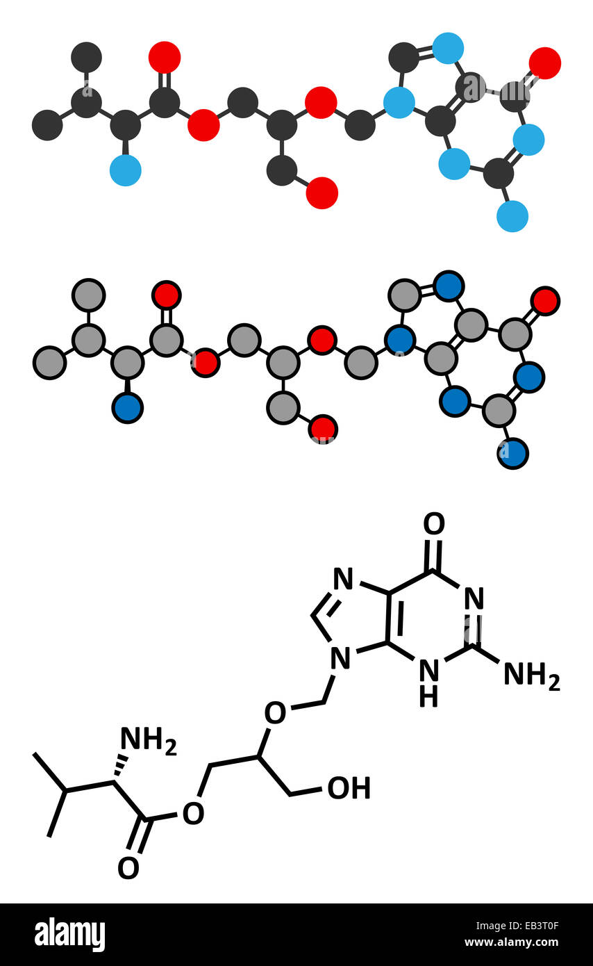 Valganciclovir cytomegalovirus (CMV, HCMV) drug molecule. Conventional skeletal formula and stylized representations. - Stock Image