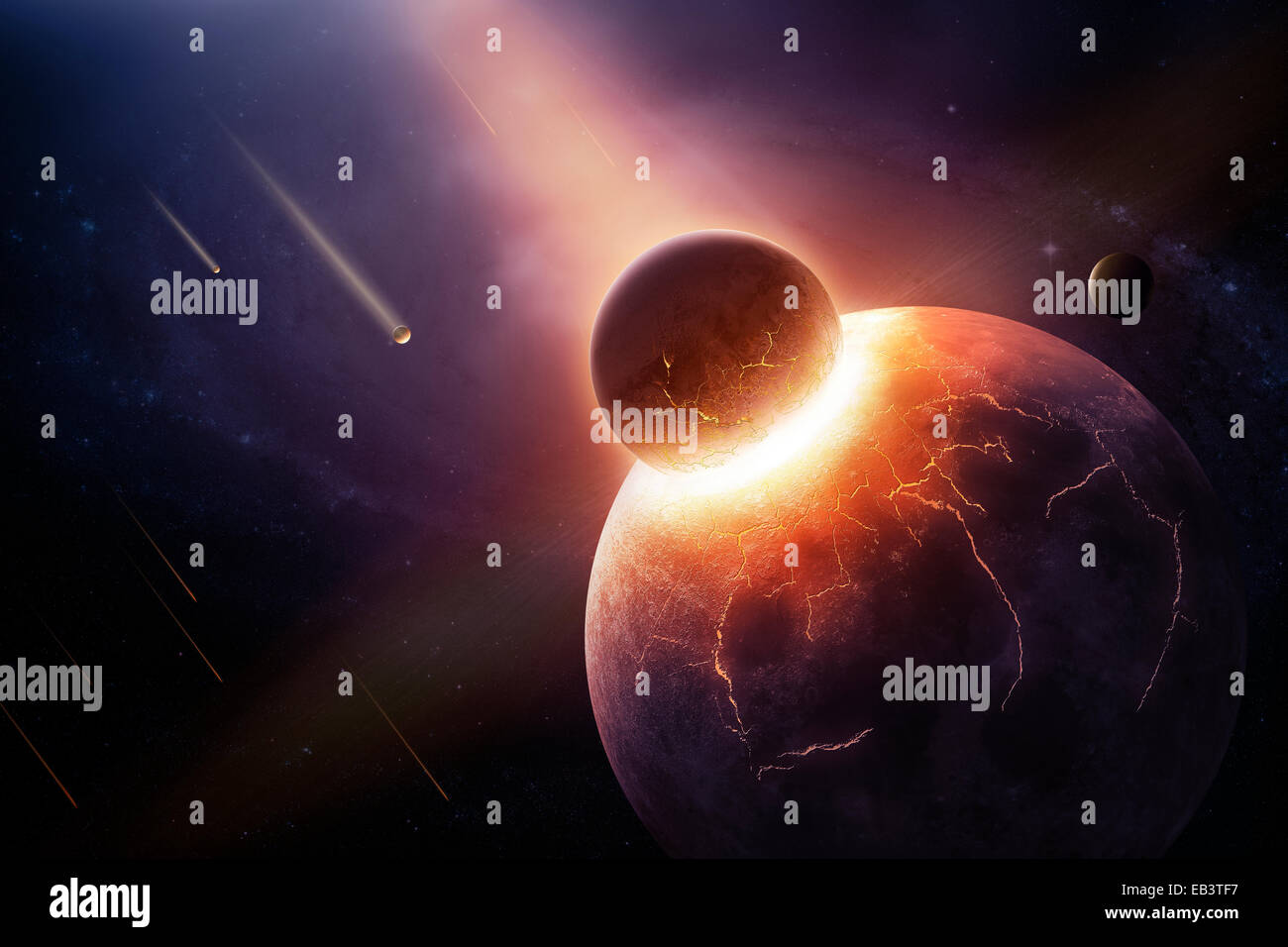 Earth destroyed in collision - 3D artwork illustration of planetary collision - Stock Image