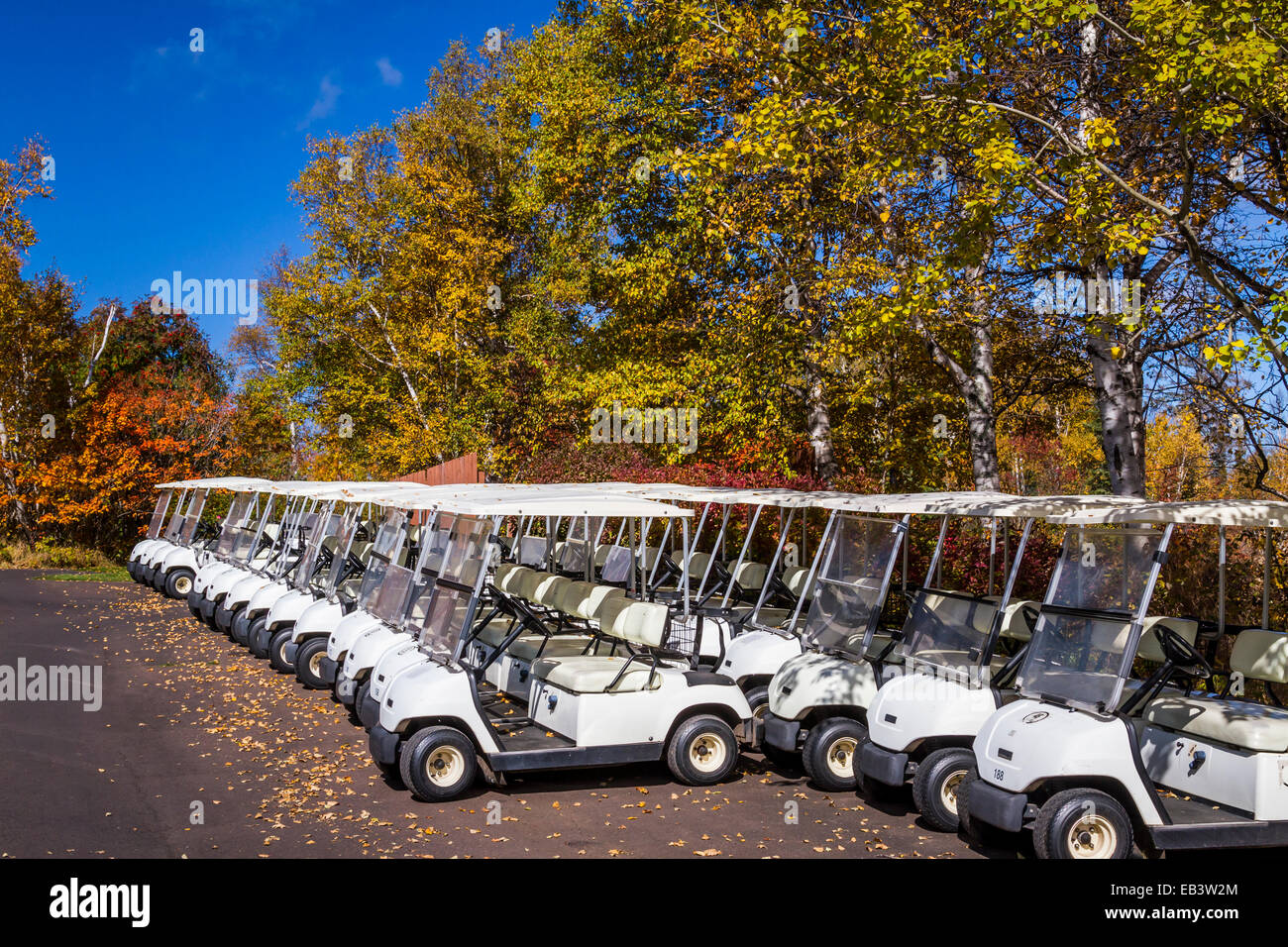 Rows of golf carts with fall foliage color at the Lutsen Mountains Resort on the north shore of Lake Superior near - Stock Image