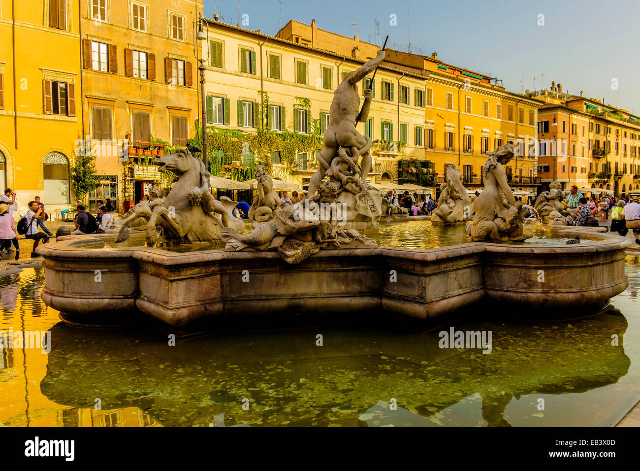 Fontana del Nettuno is a fountain located at the north end of the Piazza Navona in Rome Italy - Stock Image