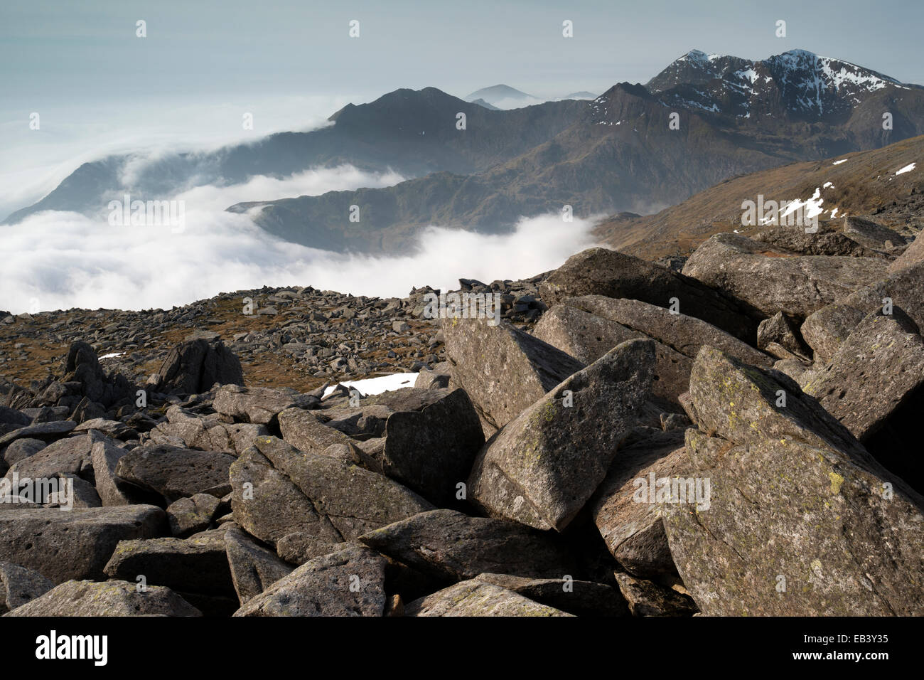 Rising clouds over the Glyderau and Snowdon Massif, Snowdonia, Wales. Stock Photo