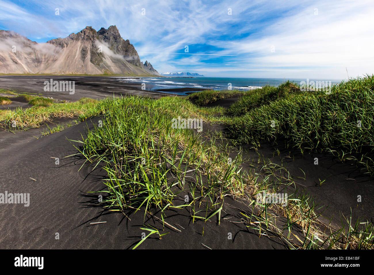 black sand beach and  mountains, Stokksnes, Iceland - Stock Image