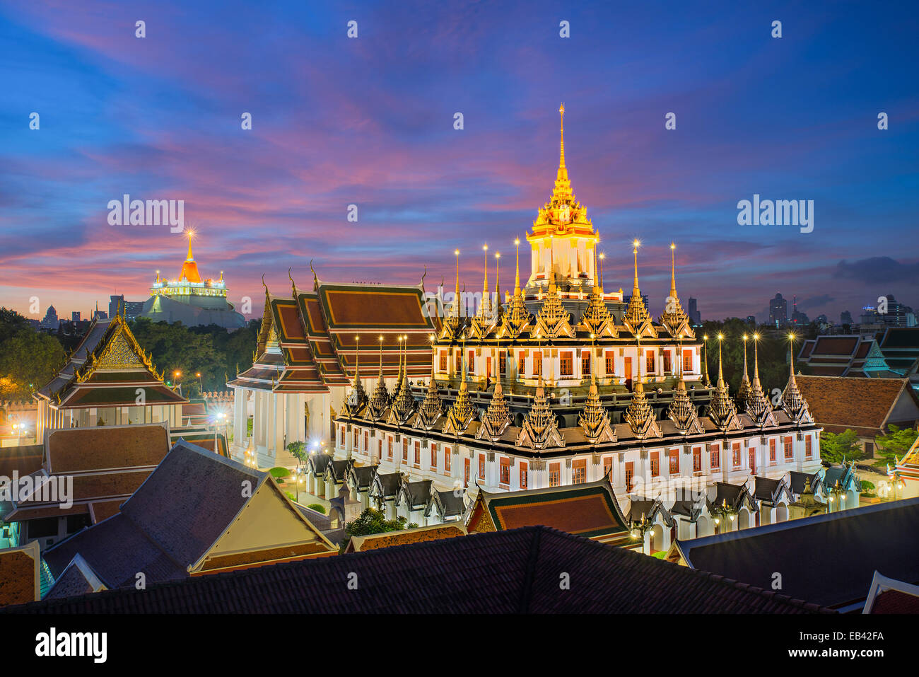 Wat Ratchanaddaram and Loha Prasat Metal Palace in Bangkok ,Thailand - Stock Image