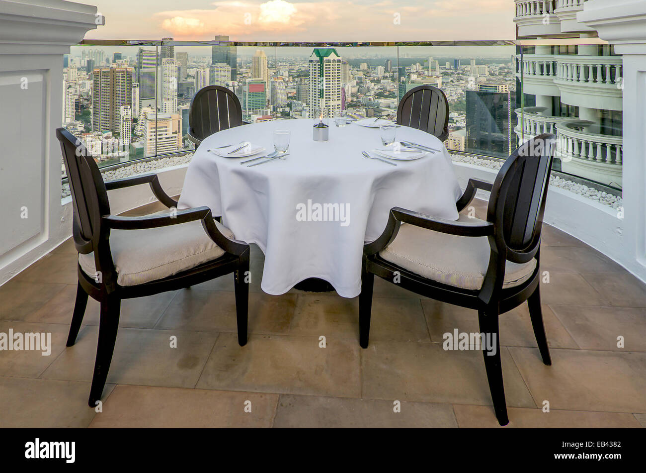 Seat and Table on terrace with high view - Stock Image