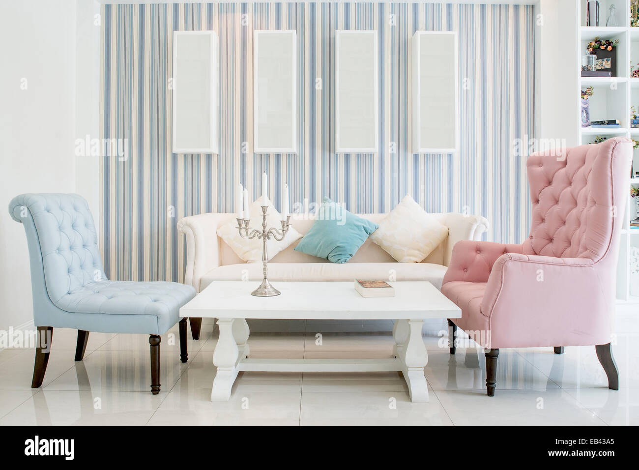 Classic Vintage Style Furniture Set in a living room Stock Photo ...