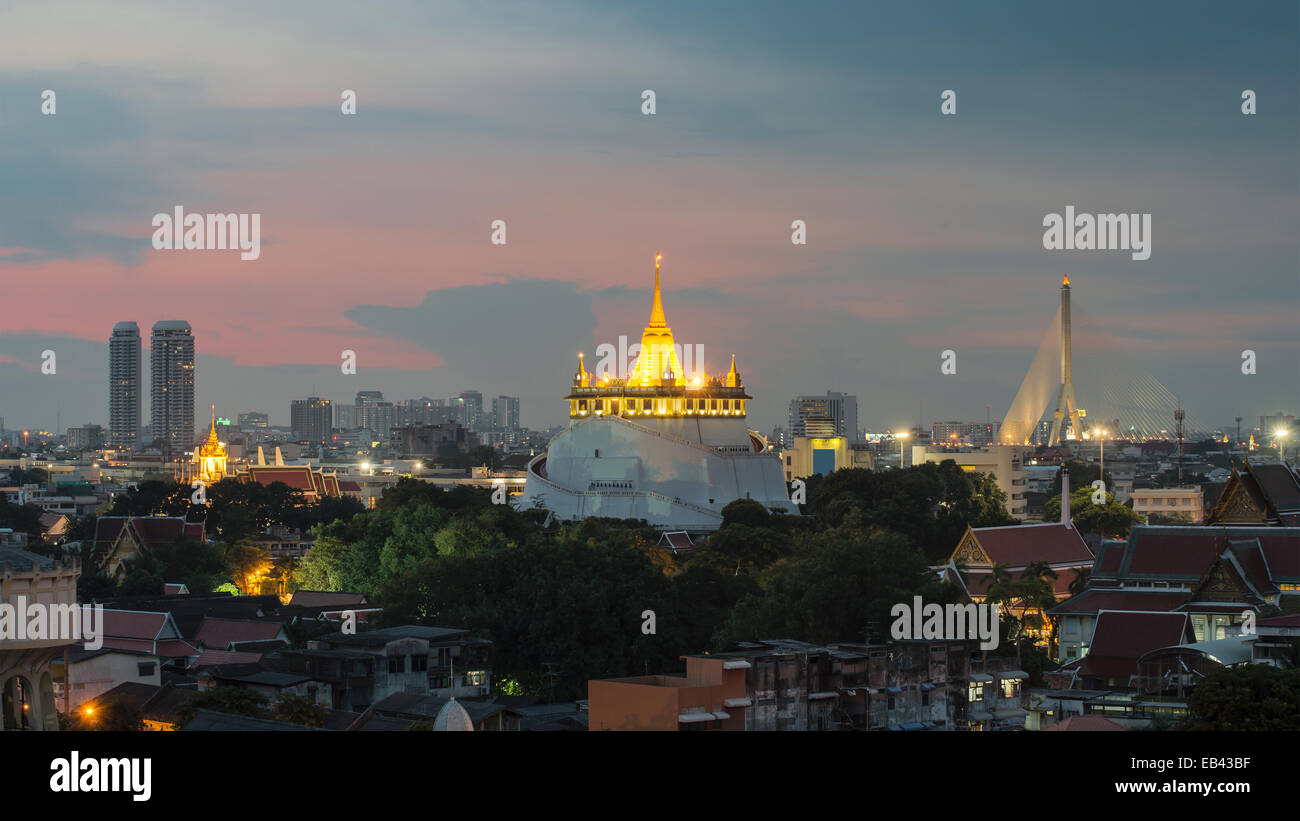 The Golden Mount at Wat Saket, Travel Landmark of Bangkok THAILAND - Stock Image