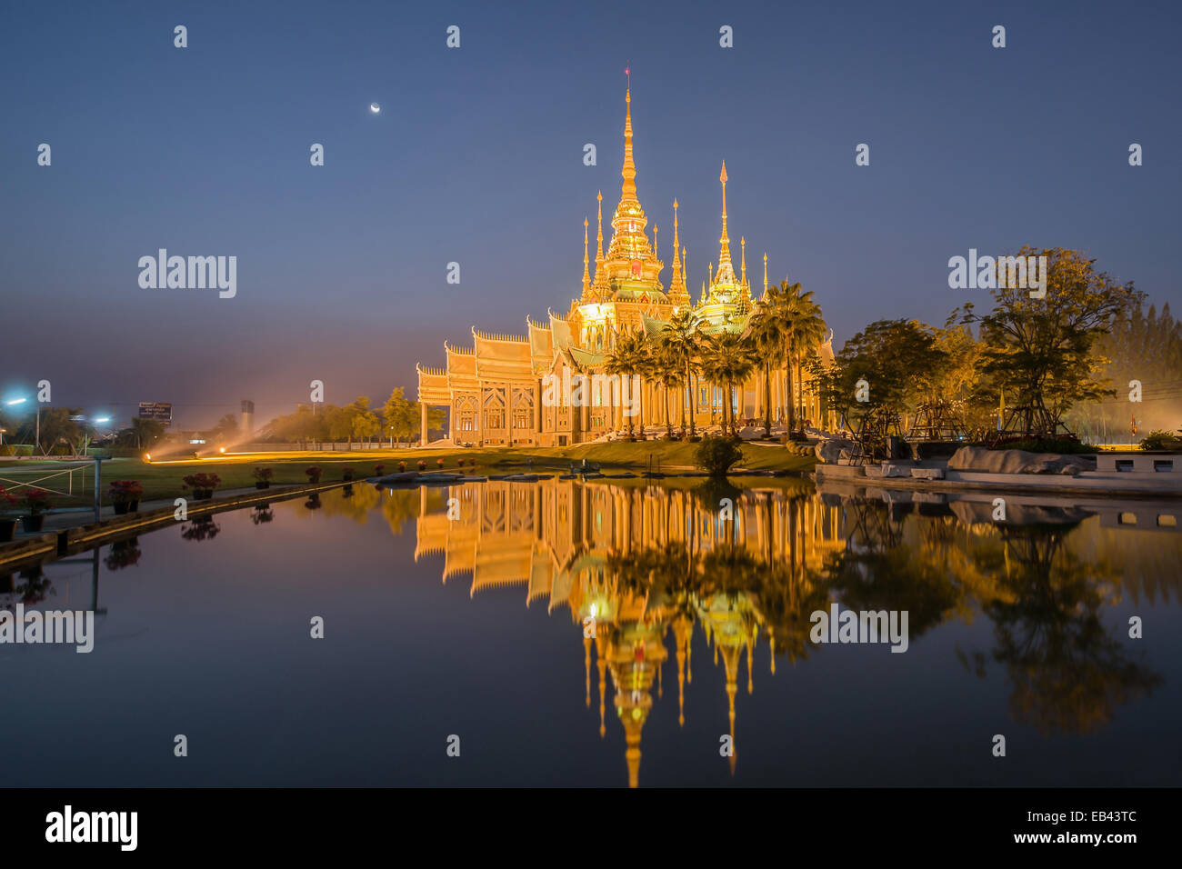 Beautiful temple with reflection in Thailand - Stock Image