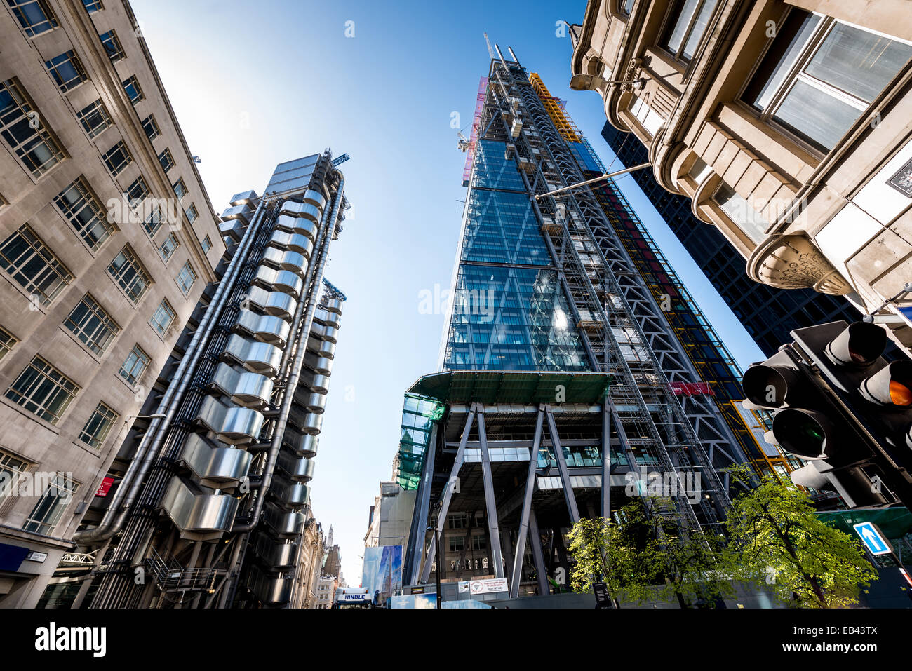 Lloyd's Building, Cheesegrater, Gherkin (reflected), City of London - Stock Image