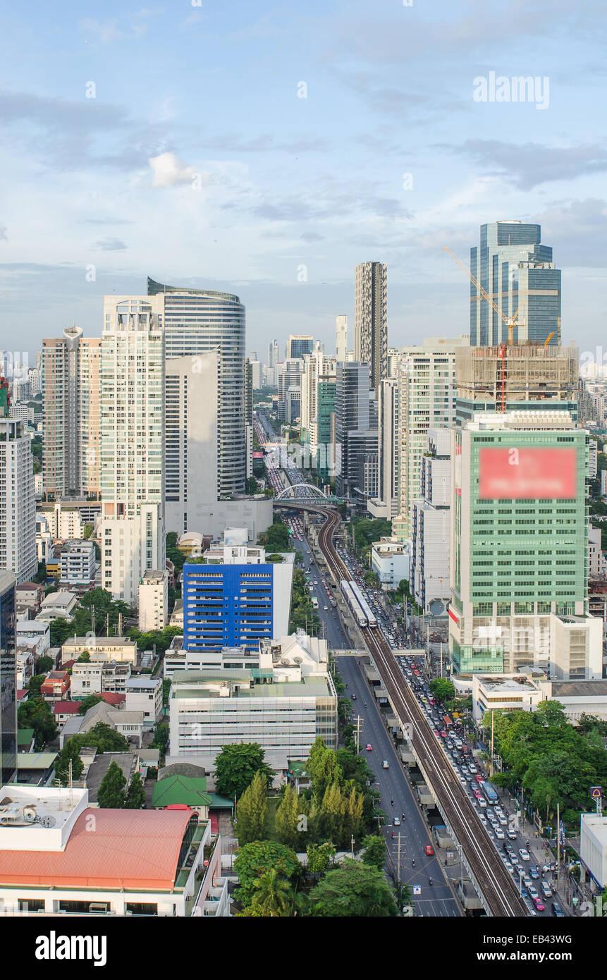 Bangkok city view with main traffic - Stock Image