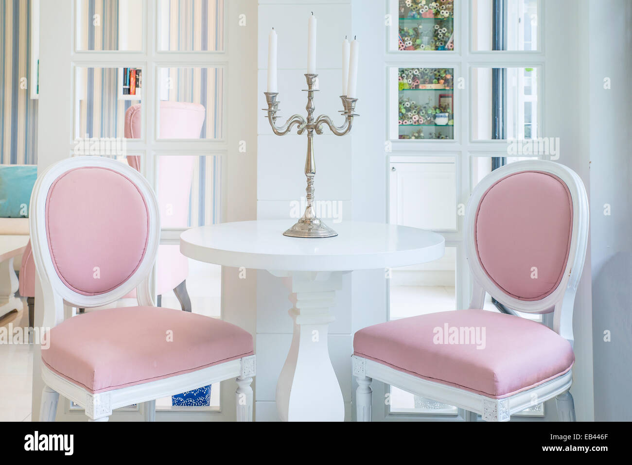 Chair Cover White Pink Stock Photos & Chair Cover White Pink Stock ...