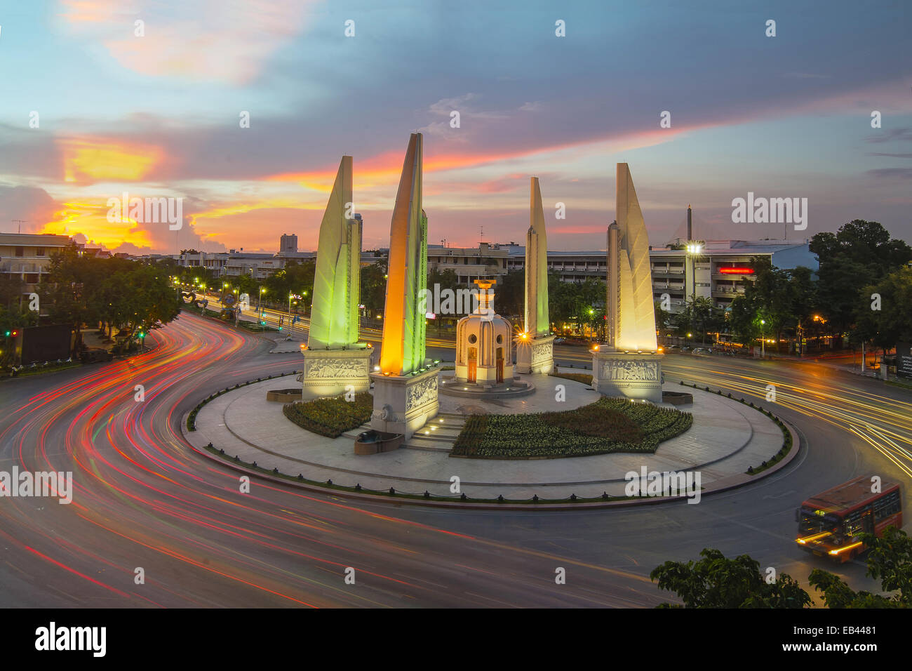 Democracy monument in Bangkok, Thailand - Stock Image