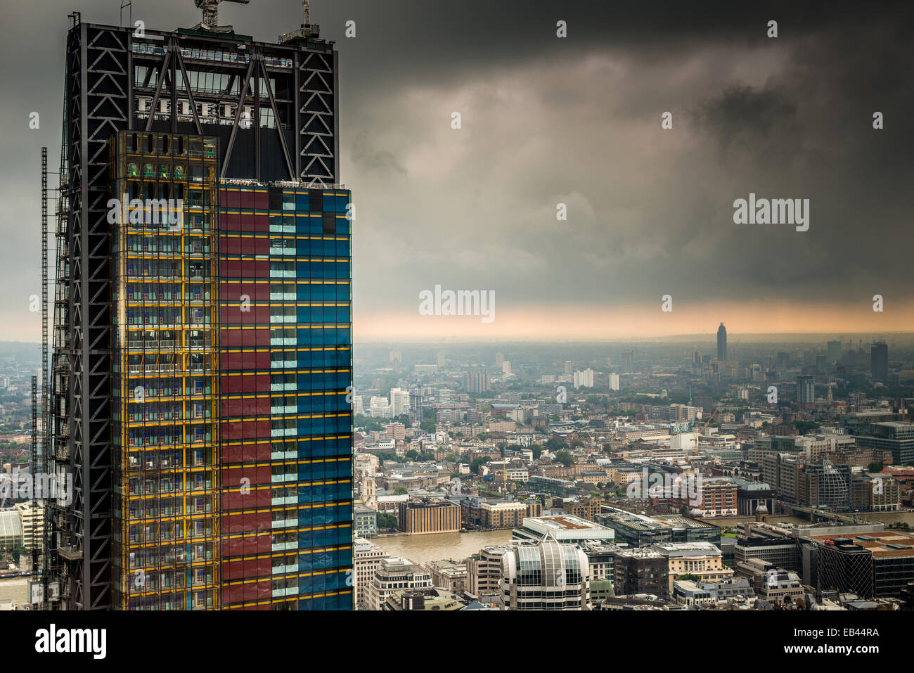 Cheesegrater under construction (122 Leadenhall Street) shot from Heron Tower - Stock Image