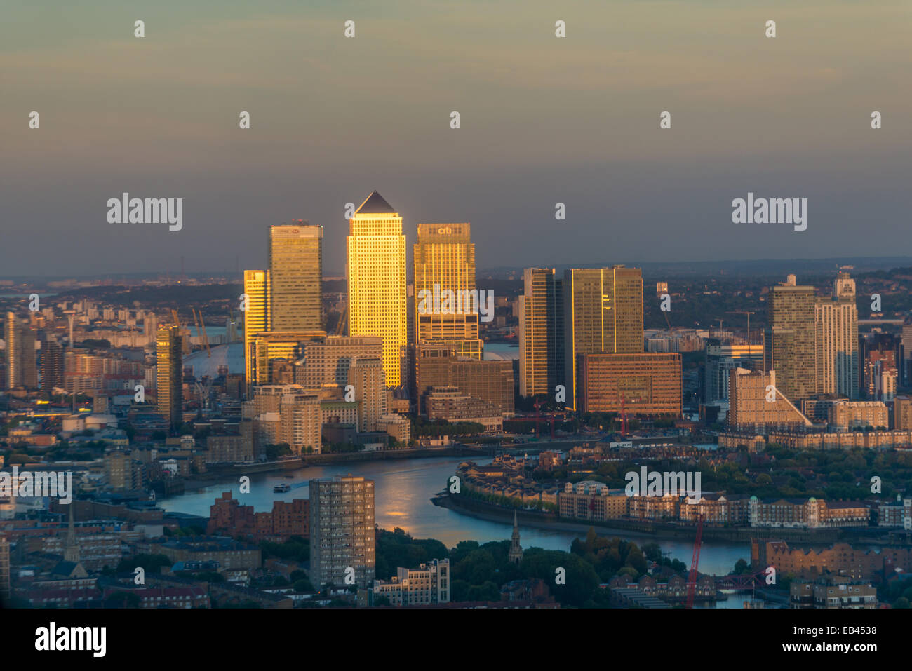 Canary Wharf, HSBC, Citigroup, Isle of Dogs, Pan Peninsula (1 Millharbour), River Thames London - Stock Image