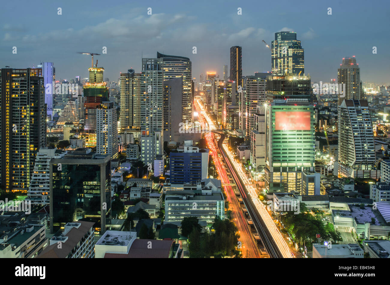 Bangkok Cityscape at twilight with main traffic - Stock Image