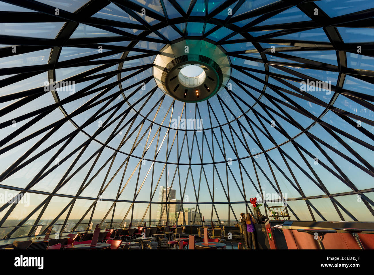 Interior of the Searcys restaurant and entertaining space at 30 St Mary Axe in London, otherwise known as The Gherkin, - Stock Image