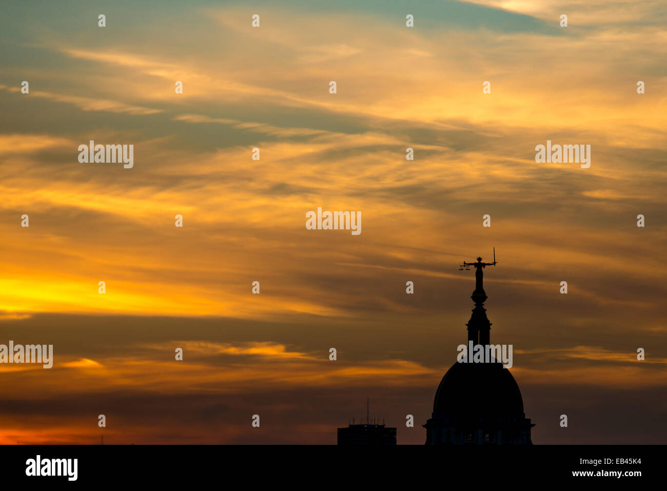 Lady Justice Statue above the Old Bailey at sunset from 1 New Change - Stock Image