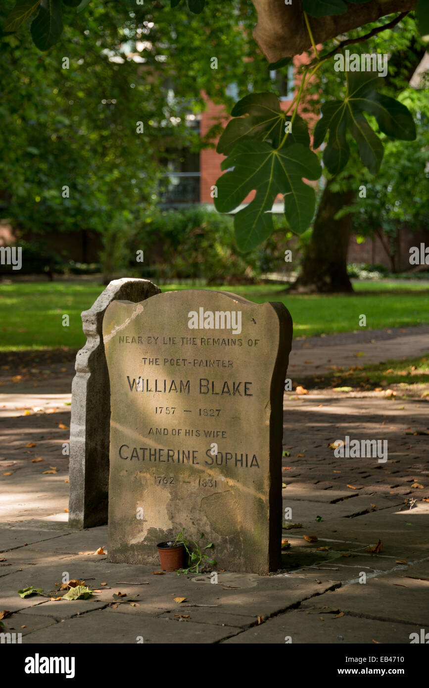 William Blake's grave at Bunhill Fields, London. - Stock Image