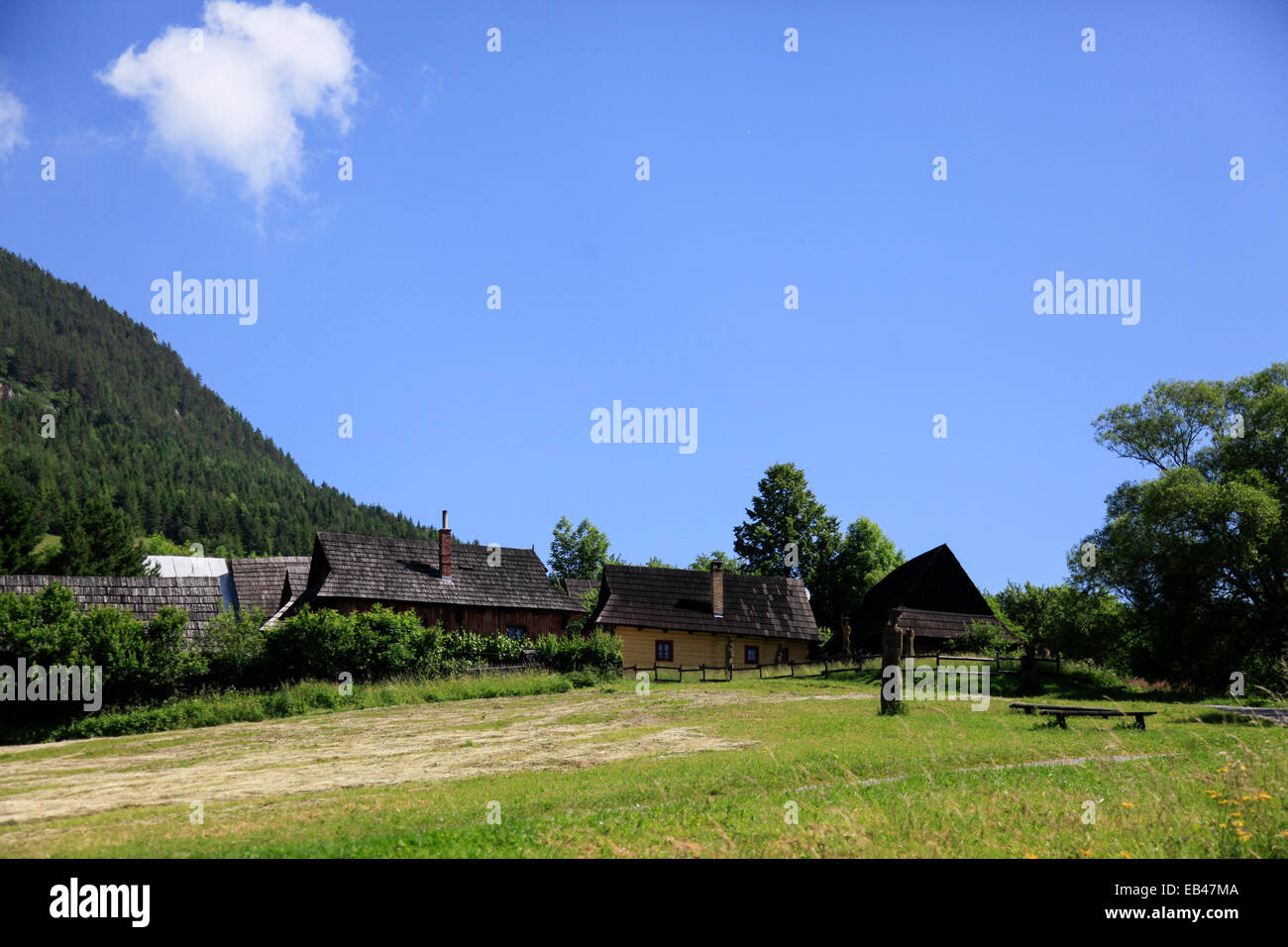 Vlkolinec,  folk architecture reservations. picturesque historical village with traditional wooden houses, Slovakia - Stock Image