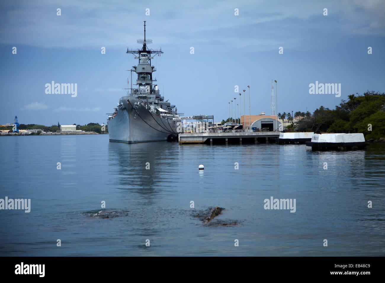 Wreck of USS Arizona, and USS Missouri in distance (site of