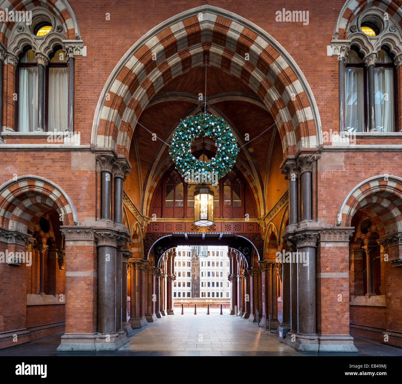 The main passenger entrance exit of London St Pancras railway station - Stock Image