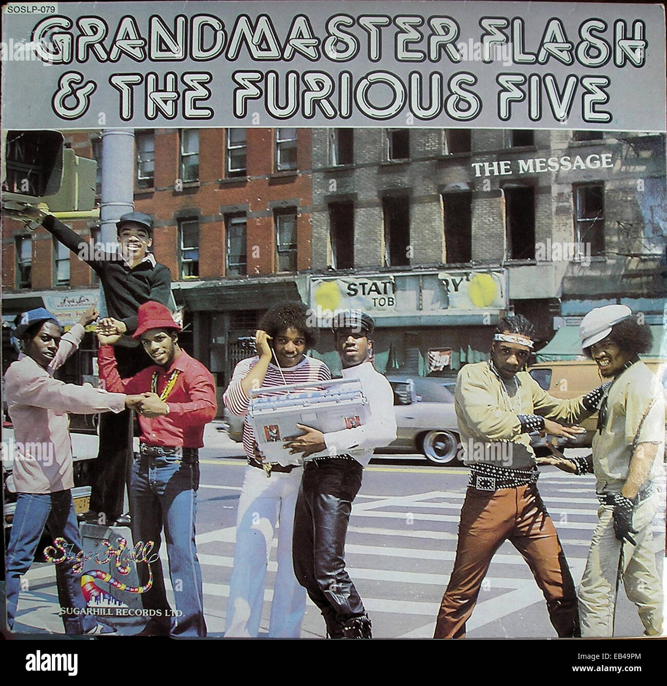 "Cover of Grandmaster Flash and the Furious Five 12"" inch single: ""The Message"" (1982) Stock Photo"