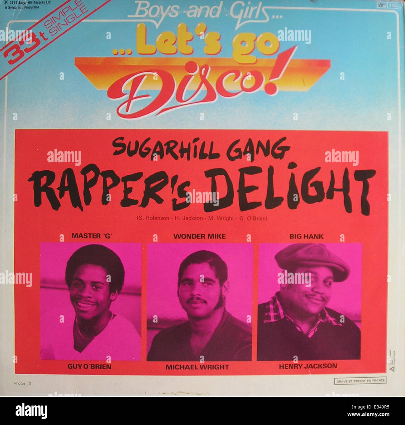 12' Single cover of 'Rapper's Delight' by Sugarhill Gang. - Stock Image