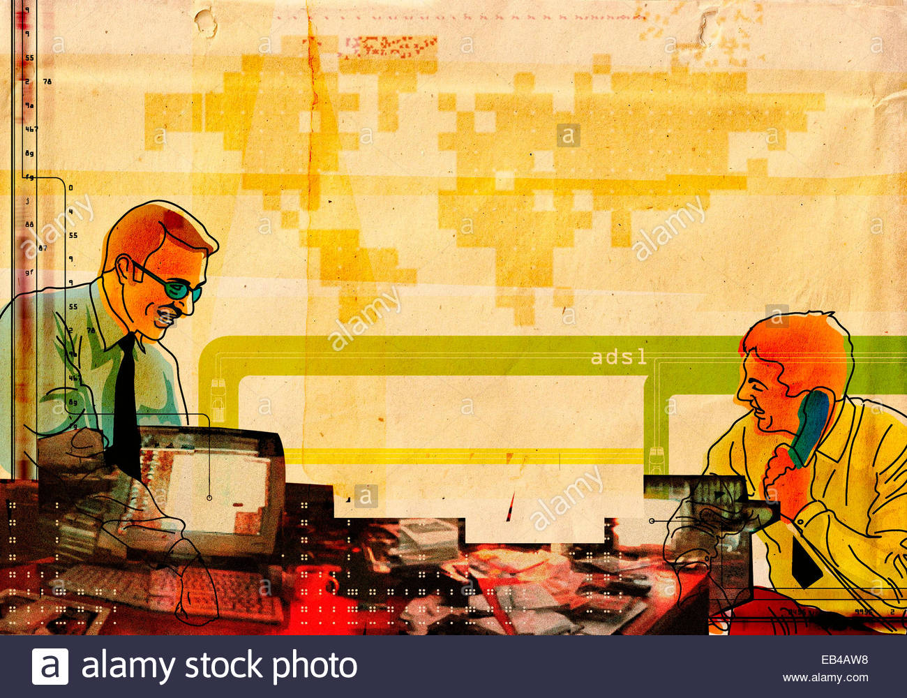 Two businessmen working in office with messy desk Stock Photo