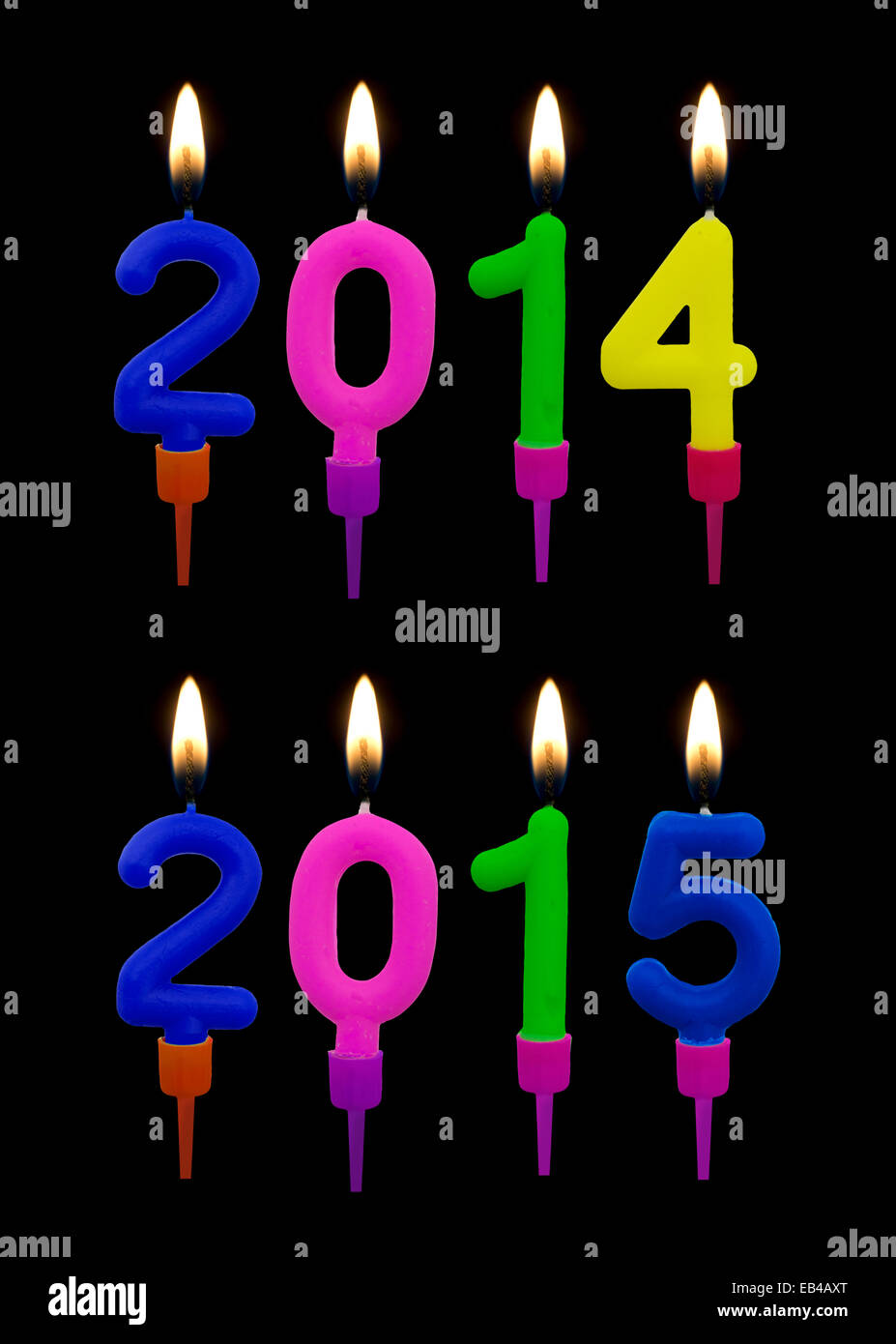 Birthday cake candles 2014 2015 - New Year or Jesus birthday - Stock Image