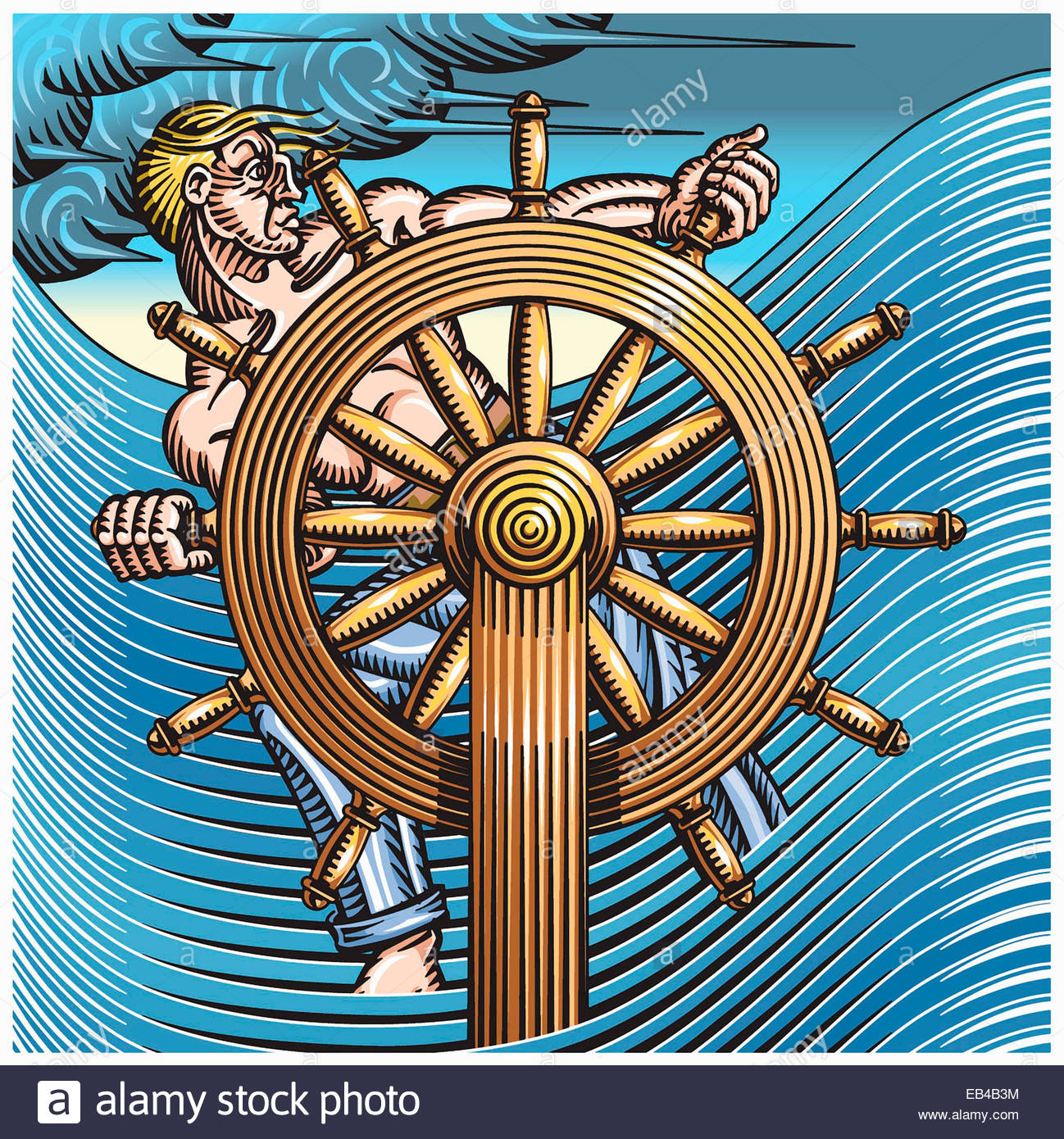 Man at helm of sinking ship in stormy sea - Stock Image