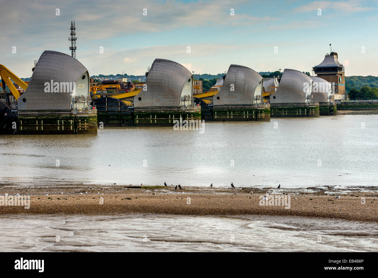 The Thames Flood Barrier on the River Thames in East London Stock Photo