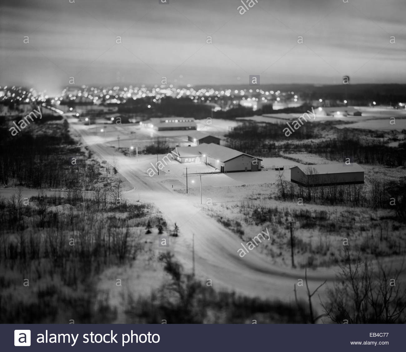 The town of Hibbing, Minnesota, location of the Hull Rust Mahoning Open Pit Iron Mine. - Stock Image